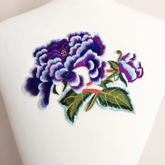 Embroidered Large Peonies Applique