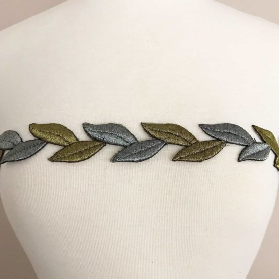 Metallic Leaves Embroidered Trim (Iron-On)