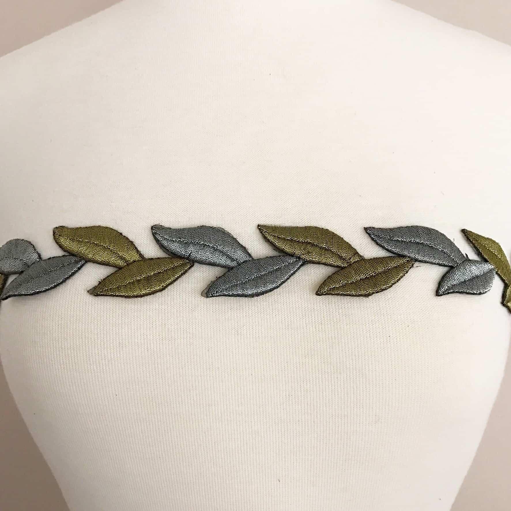 Metallic Leaves Embroidered Trim (Iron-On)