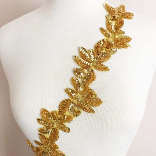 Beaded Sequin Embroidered Leaf Trim