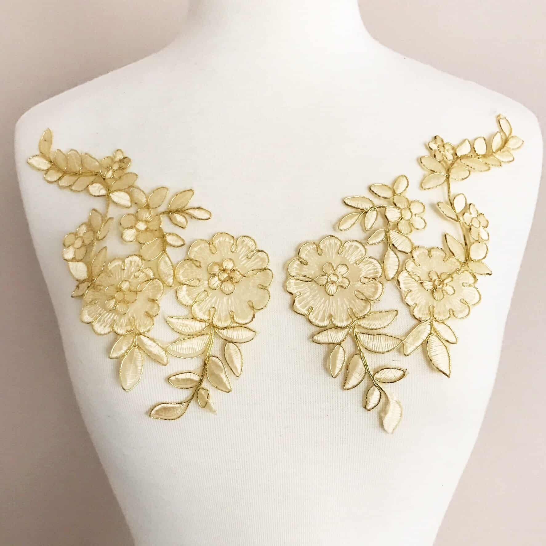 Matching Femina Floral Embroided Appliques (SOLD AS PAIR)