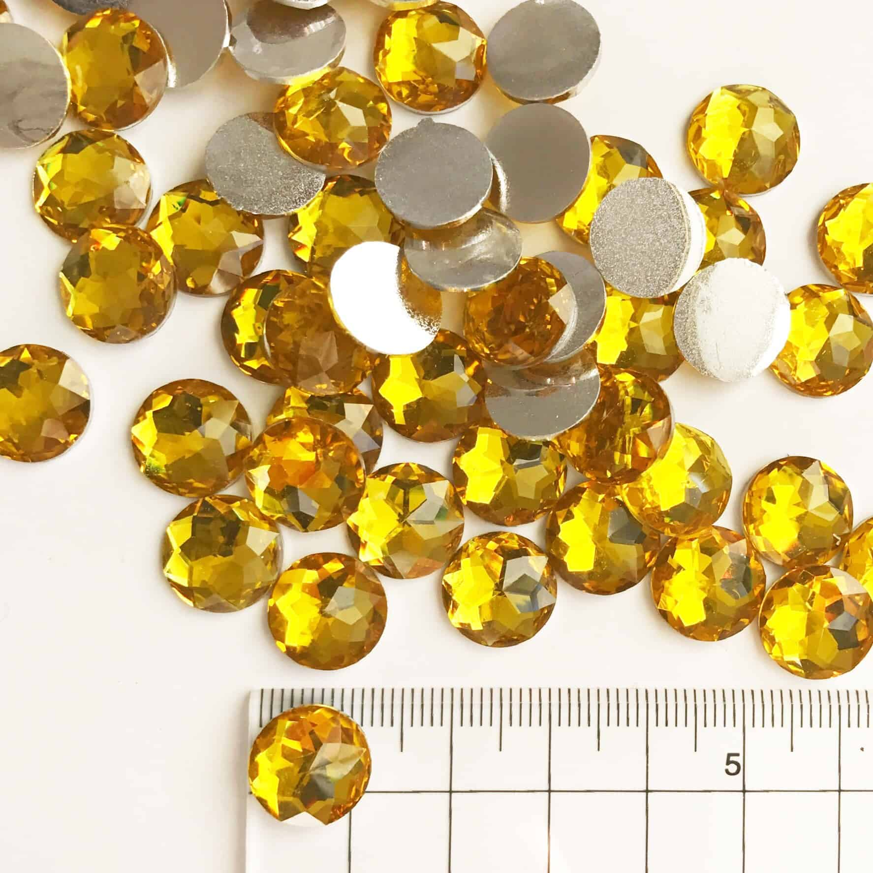 12mm Round Yellow Acrylic Gem Stones (Pack of 300)