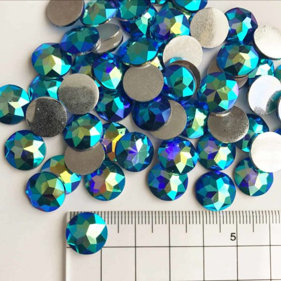 12mm Round Blue AB Acrylic Gem Stones (Pack of 300)