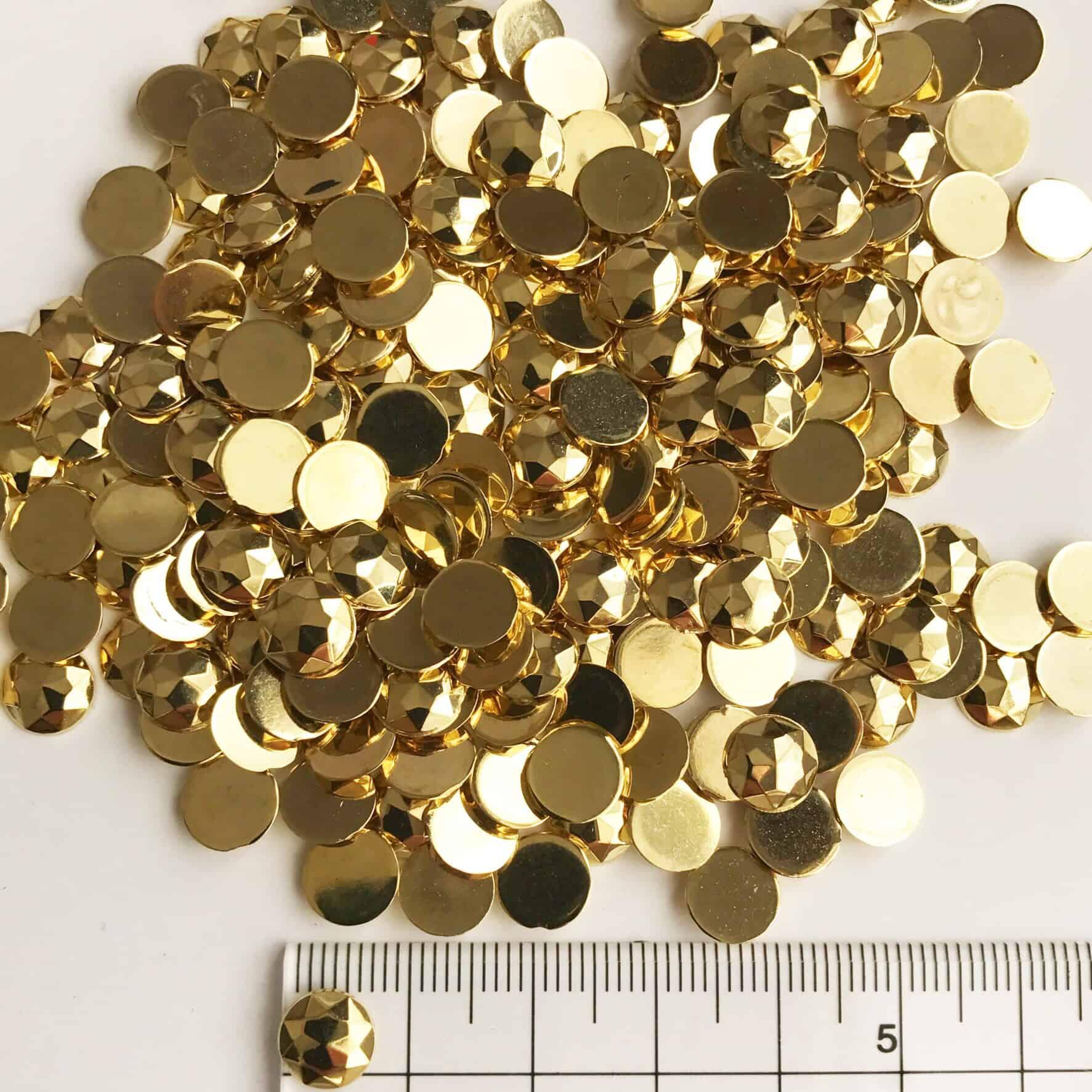 8mm Round Metallic Gold Acrylic Gem Stones (Pack of 1000)