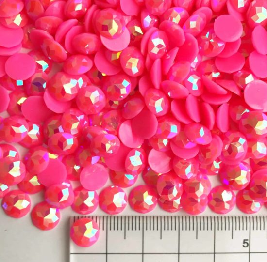 8mm Round Hot Pink AB Acrylic Gem Stones (Pack of 1000)
