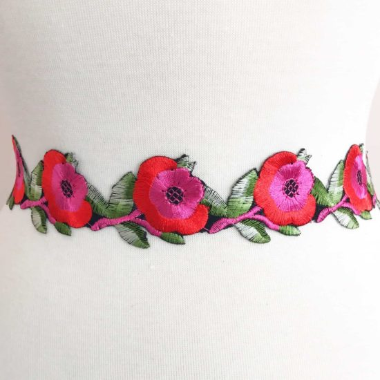 Floral Stem Embroidered Trim (Iron-On)