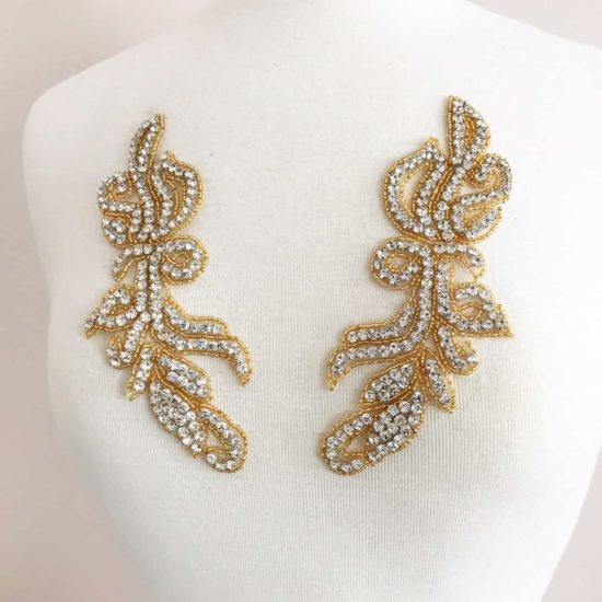 Gold Silhouette Matching Rhinestone Applique