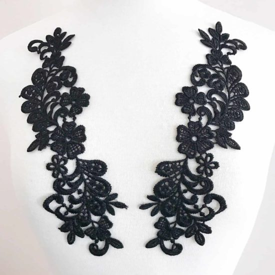 Selena Venice Lace Applique Black (SOLD AS PAIR)
