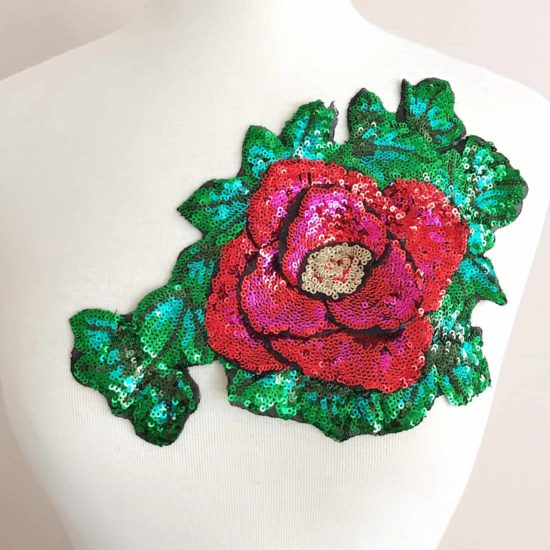Embroidered Large Sequin Rose Patch