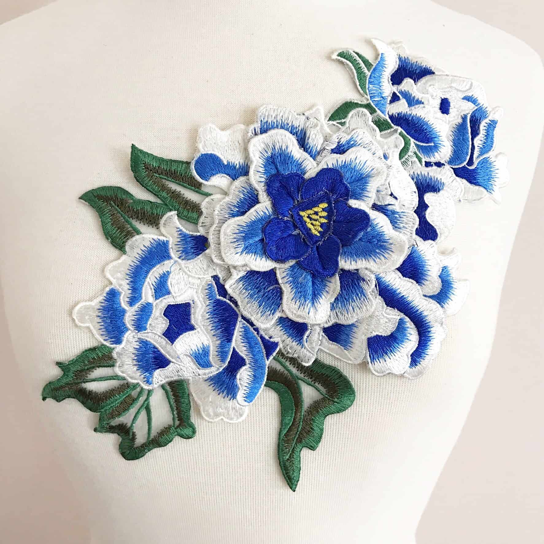 Embroidered 3D Blue and White Floral Applique