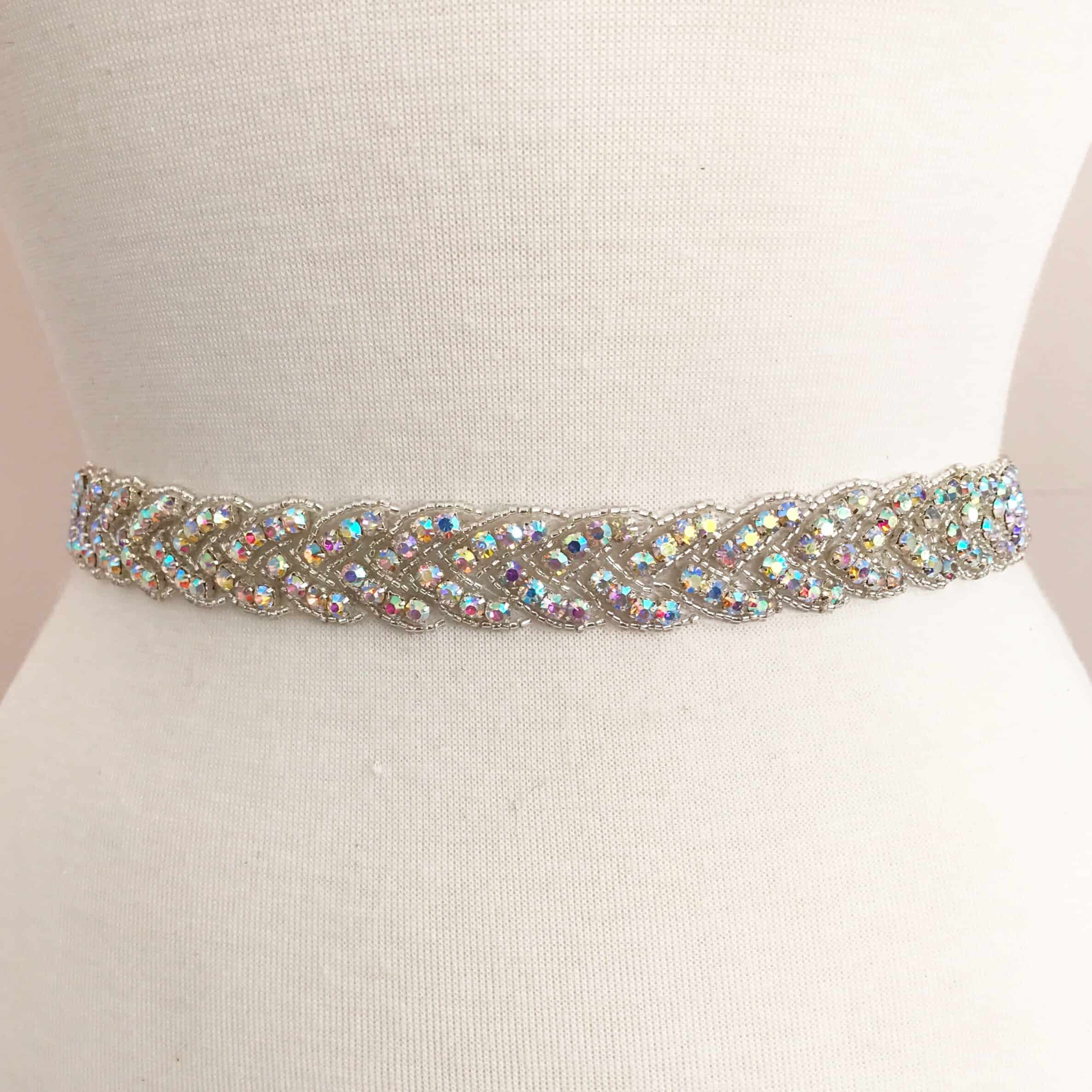 *SALE* AB Silver Braid Rhinestone Beaded Trim