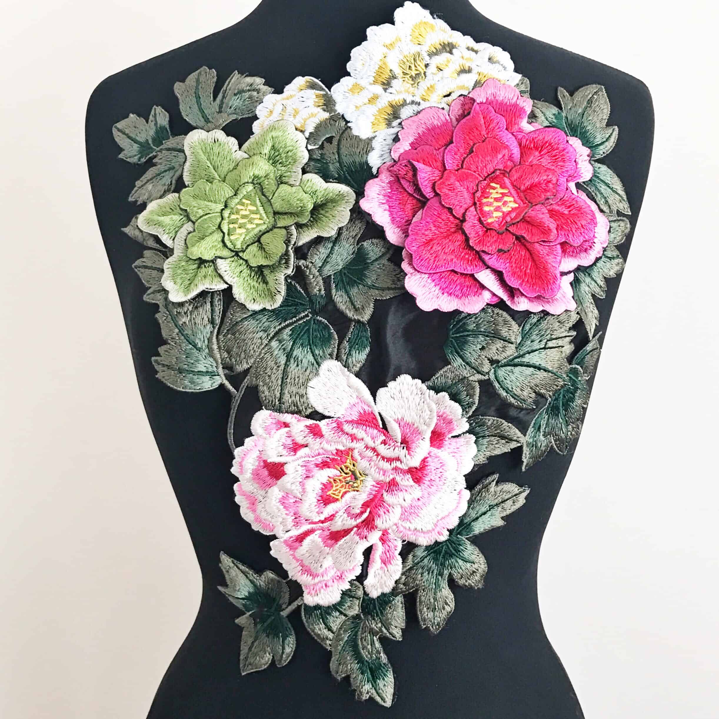 3D Floral Bouquet Embroidered Applique on Black Fabric