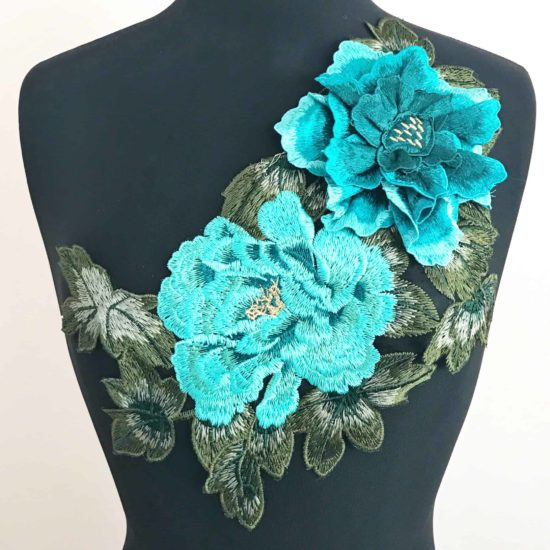 3D Teal Floral Embroidered Applique on Black Mesh