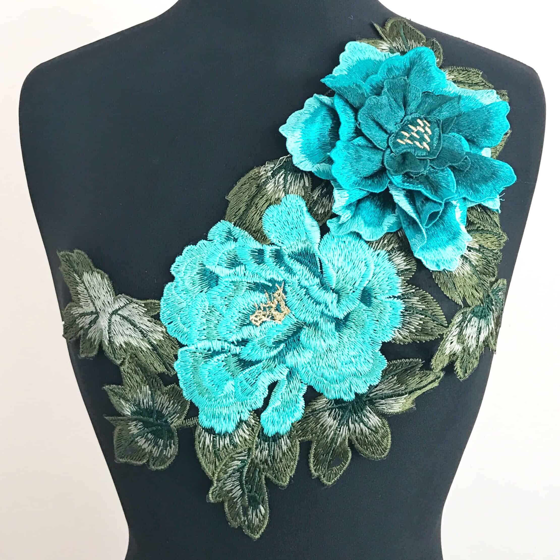 3D Teal Floral Embroidered Applique on Black Mesh