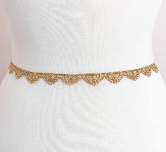 Petit Gold Metallic Scallop Lace