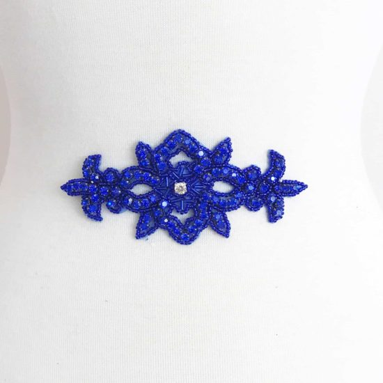 Royal Blue Cecilia Emblem Rhinestone Applique