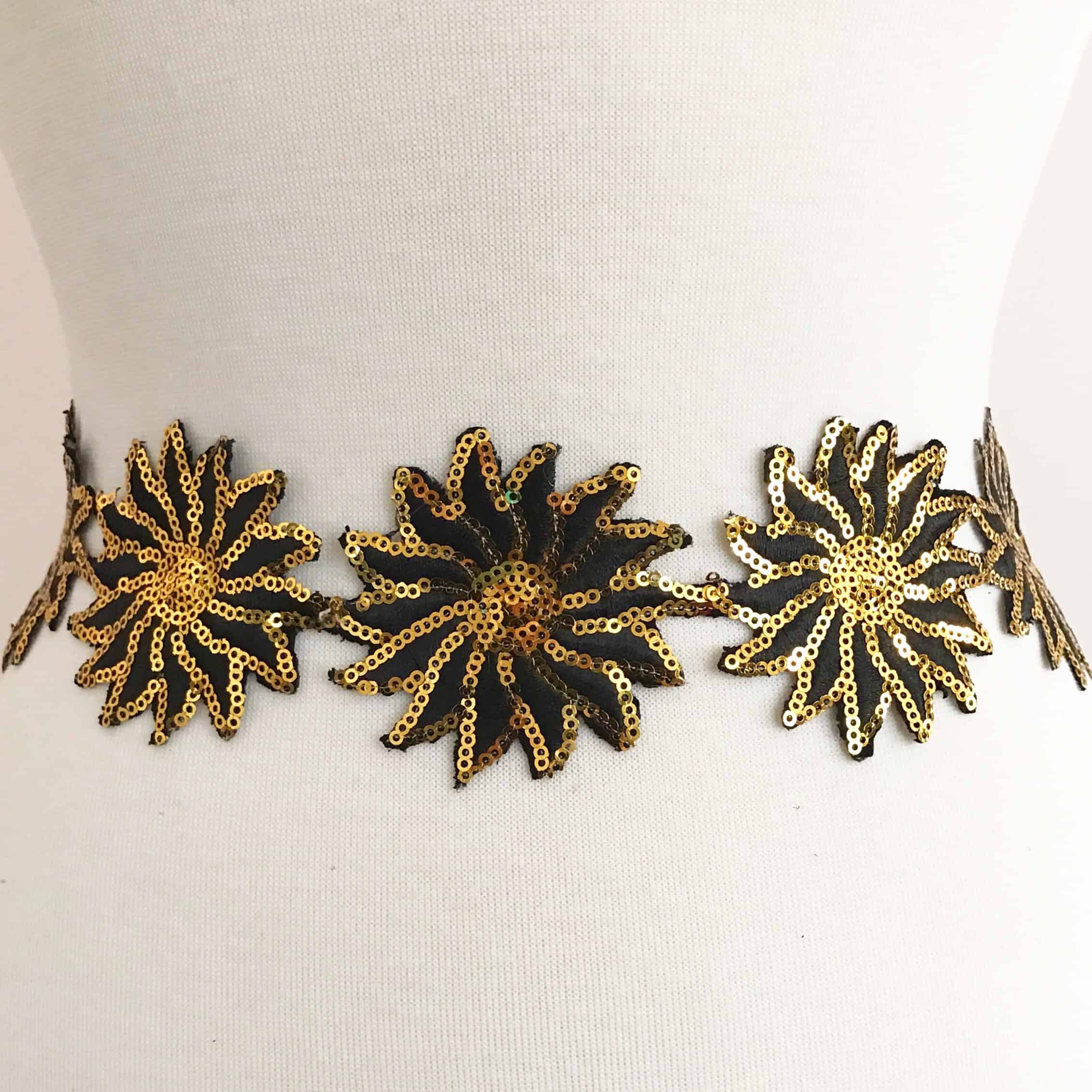 Black and Gold Sequin Embroidered Flower Trim