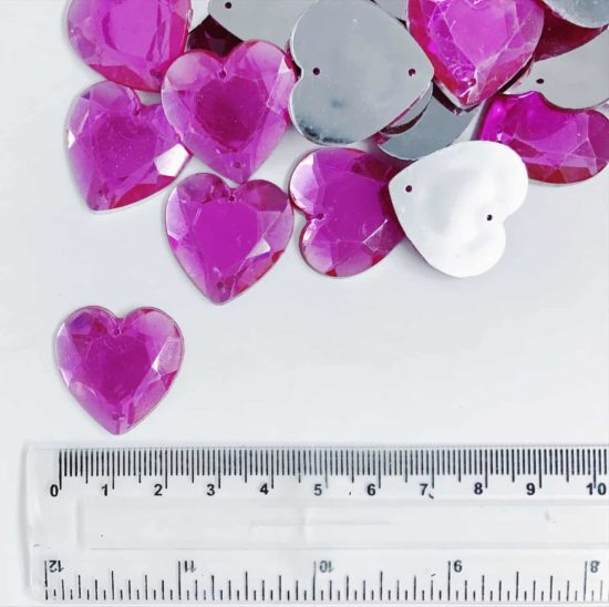 *CLEARANCE* Acrylic Stones 25mm Hearts FUSCHIA (130PCS)