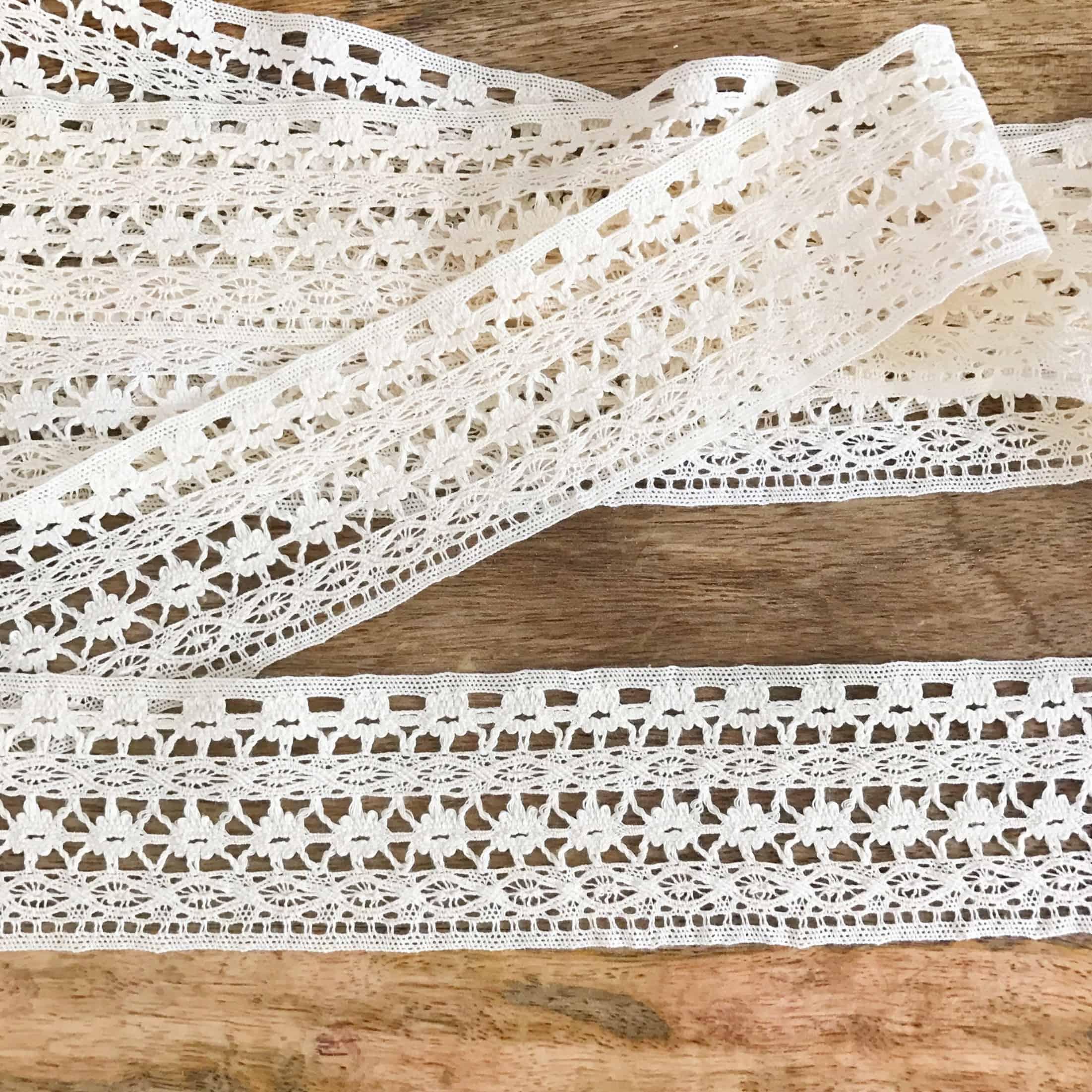 Natural Cotton Crochet Lace Border Trim (5 Yards)