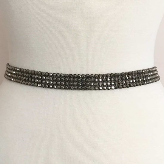 Gunmetal Rhinestone Band (4 Row)