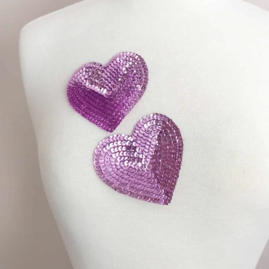 Pink Sequin Heart Applique (Set of 2)
