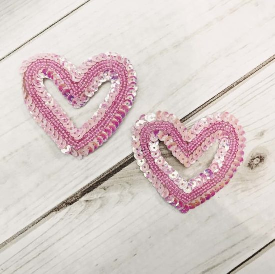 Open Heart Sequin Appliques (Sold as Set of 2)