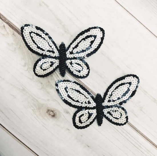 Black and Off White Sequin Butterfly Applique (Sold as set of 2)