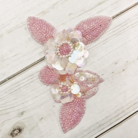 Pink Flower Motif Sequin Applique