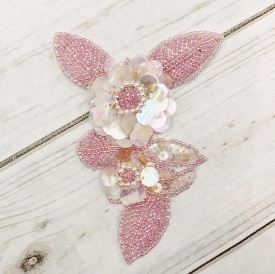 Pink Flower Motif Sequin Applique