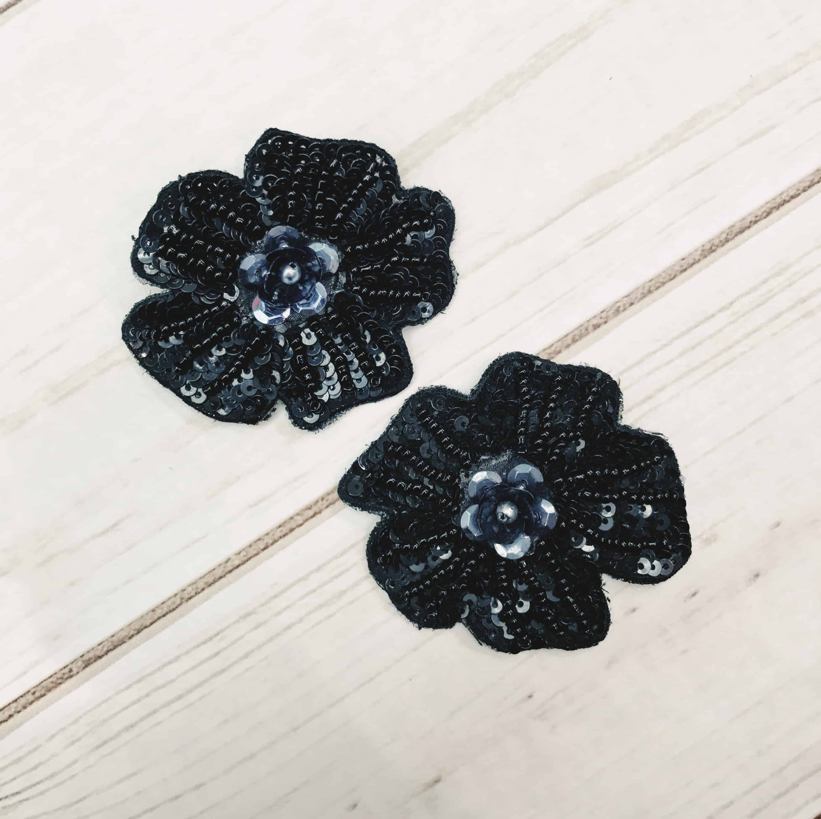 Black and Gray Small Flower Sequin Appliques (Sold as Set of 2)