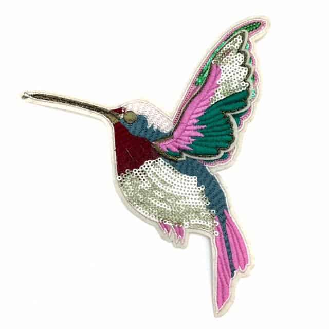 Hummingbird Embroidered Applique (Iron-On)