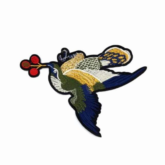 Sparrow Embroidered Applique (Iron-On)