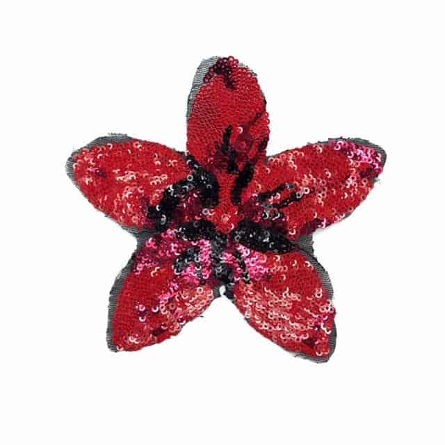 Red and Black Sequin Flower Applique (Stitch or Glue)