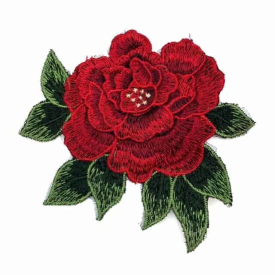Embroidered 3D Rose Patch