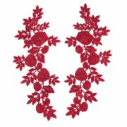 Matching Scarlet Embroidered Lace Applique (SOLD AS A PAIR)