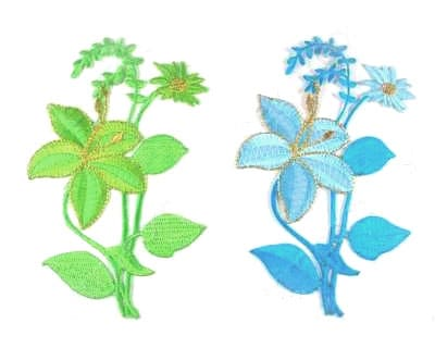 Embroidered Flower (Lime or Turquoise)