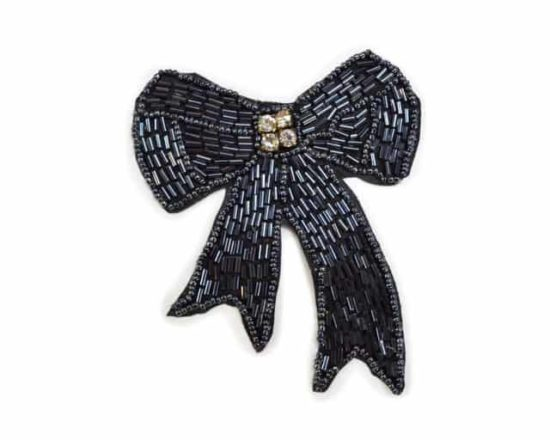 Classic Beaded Bow Applique with Rhinestones
