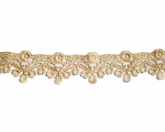 "1.5"" Gold Metallic Border Lace"