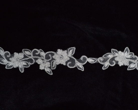 Embroidered Beaded Flower Trim