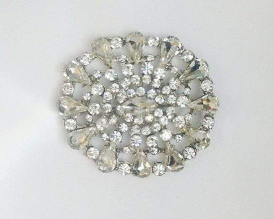Betty Oval Rhinestone Brooch