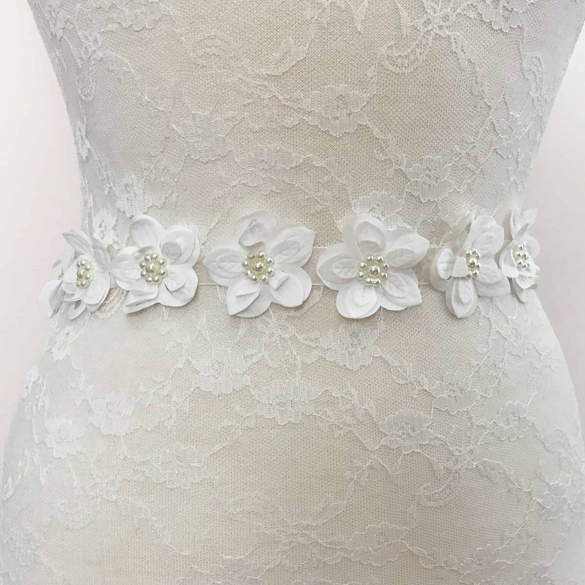 Fabric Flower Trim: White Satin Cut-Out Fabric Flower Trim With Pearls